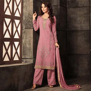 Awesome Pink Colored Designer Embroidered Georgette Suit