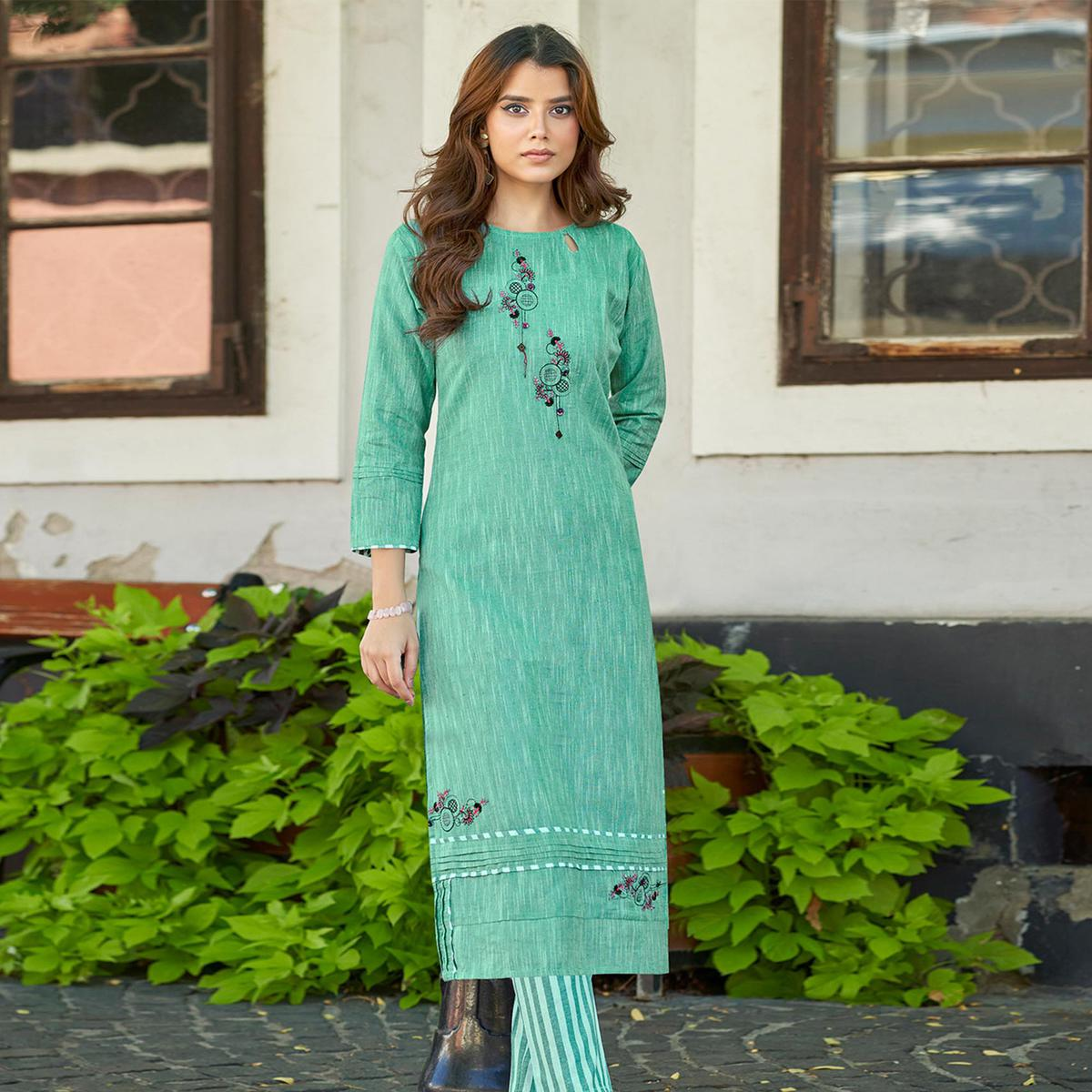 Turquoise Green Casual Wear Embroidered Cotton Kurti - Palazzo Set