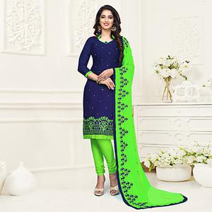 Unique Navy Blue Colored Embroidered Partywear Cotton Jacquard Suit
