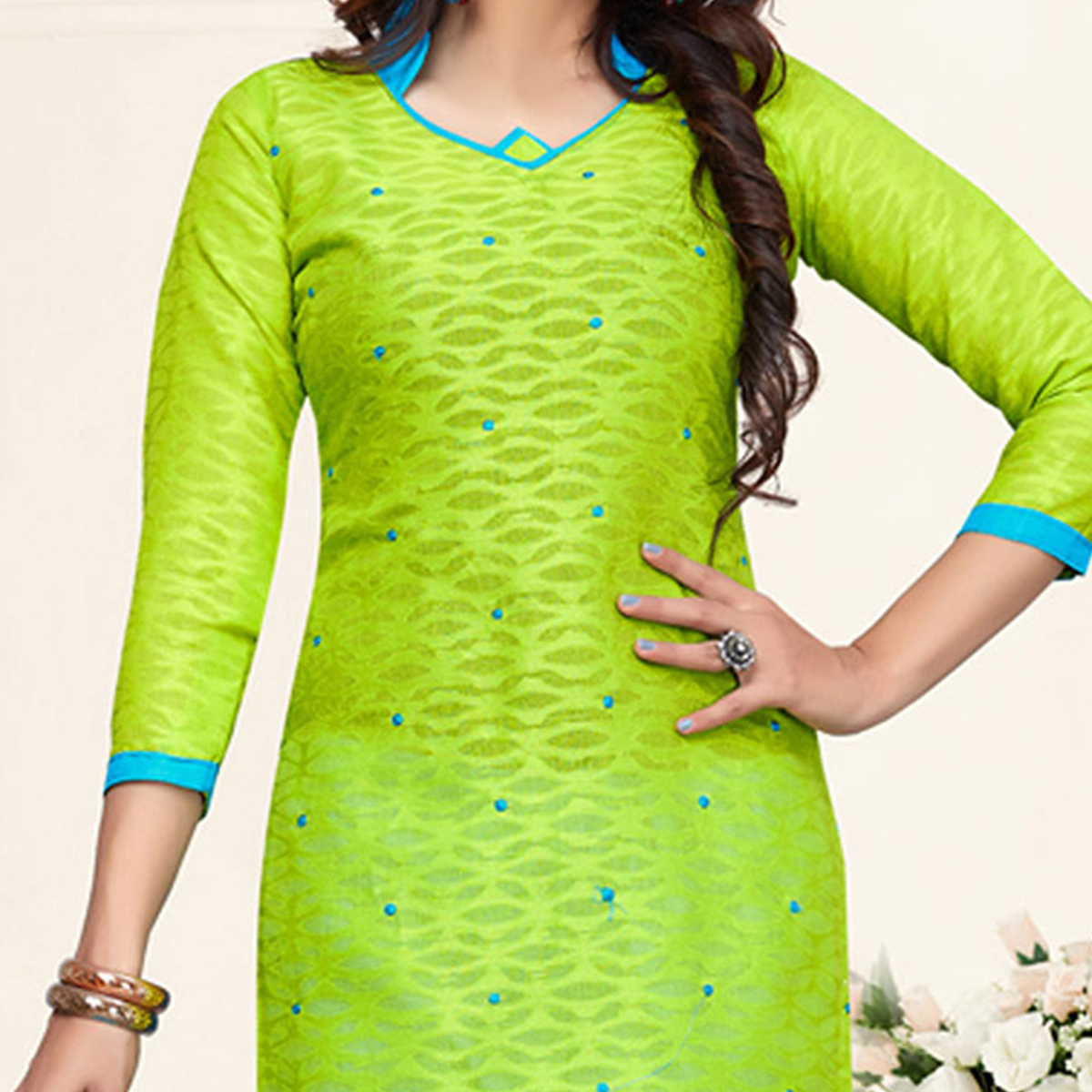 Mesmerising Green-Sky Blue Colored Embroidered Partywear Cotton Jacquard Suit