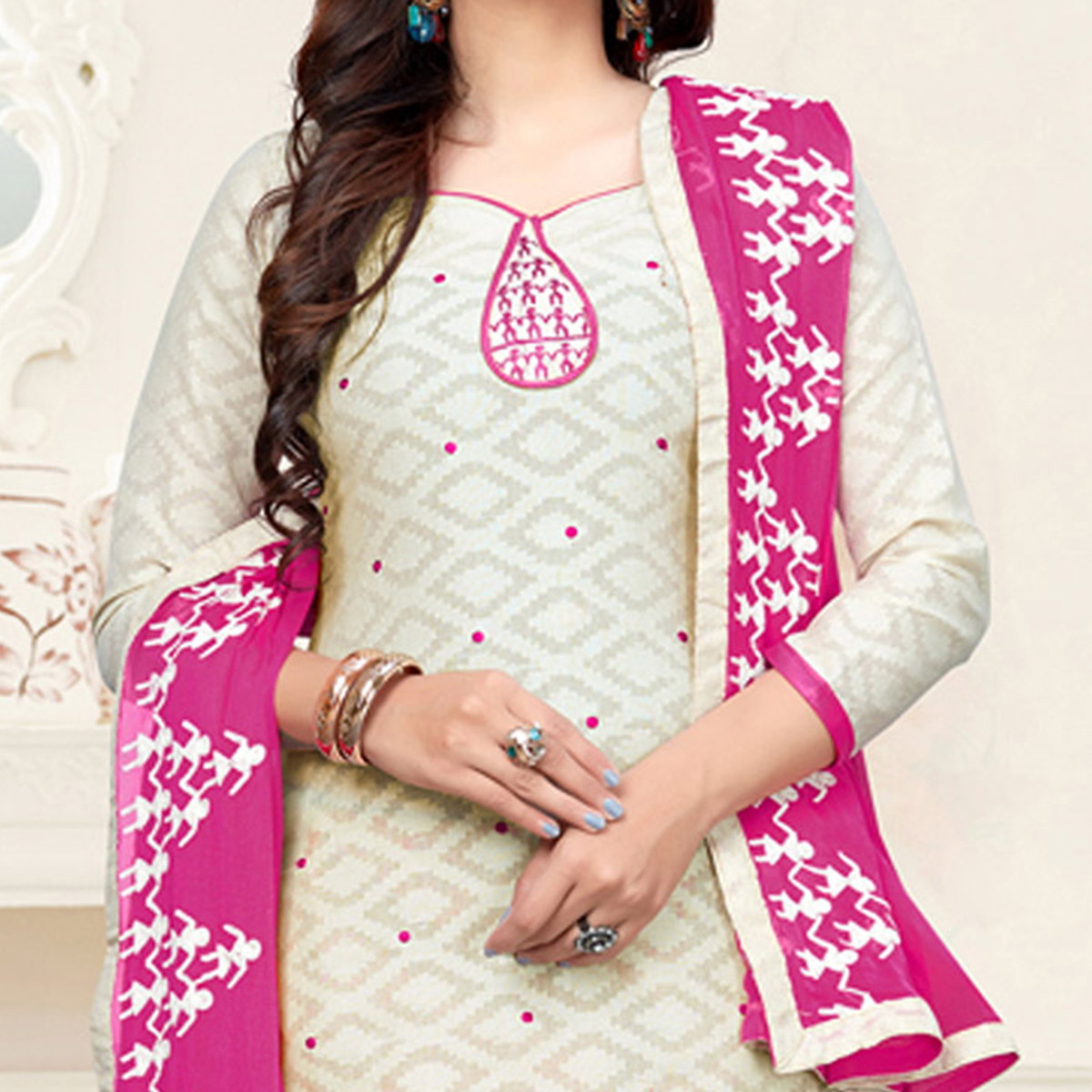 Amazing Off-White-Pink Colored Embroidered Partywear Cotton Jacquard Suit