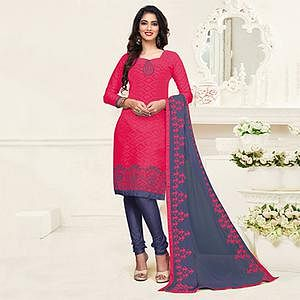 Dazzling Pink-Grey Colored Embroidered Partywear Cotton Jacquard Suit