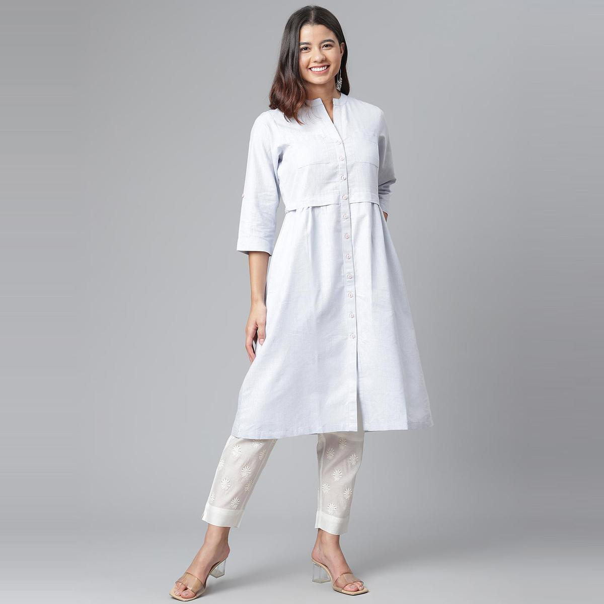 Ayaany - Women Blue Cotton Casual Dress