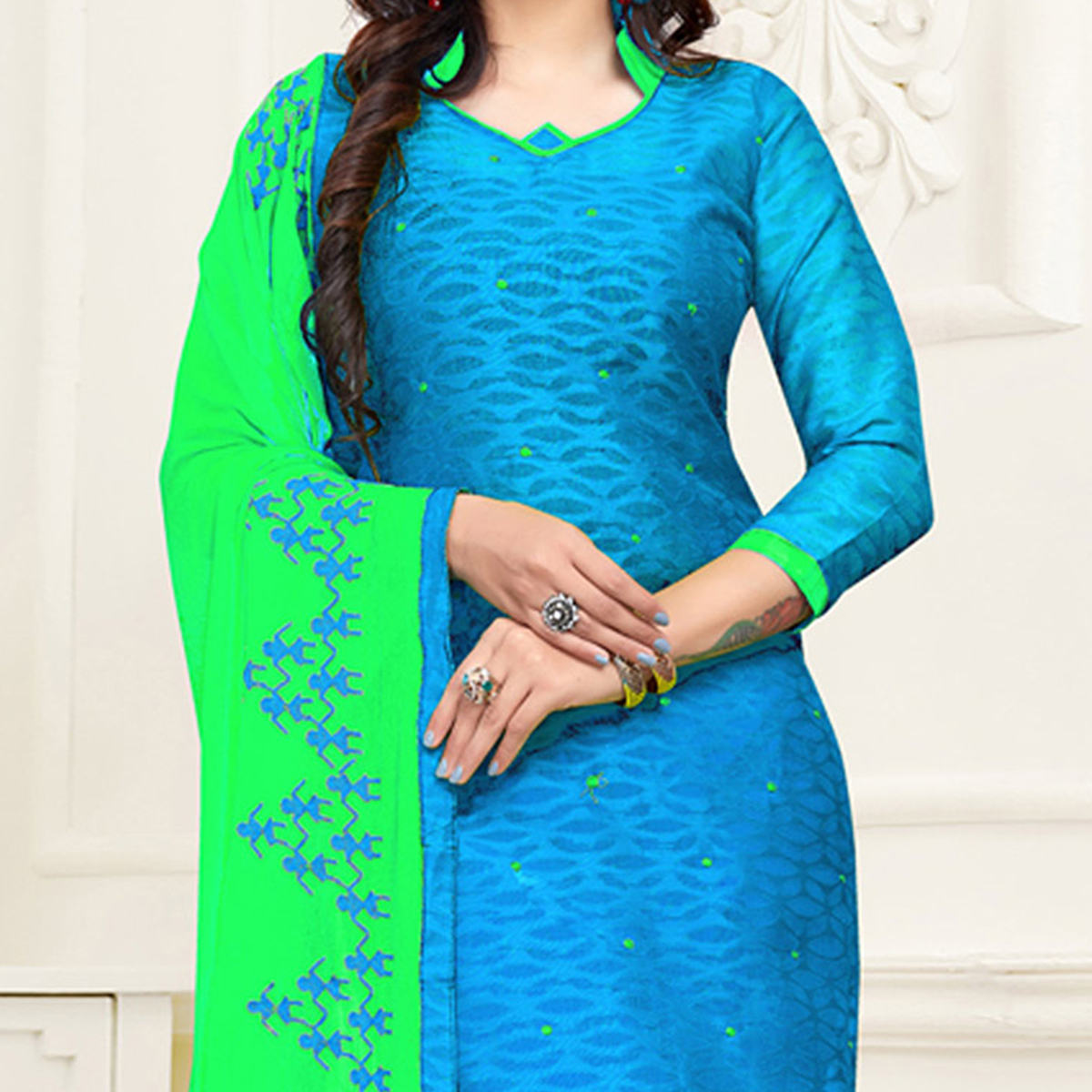 Awesome Sky Blue-Green Colored Embroidered Partywear Cotton Jacquard Suit