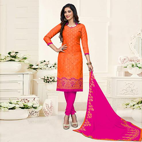 Trendy Orange-Pink Colored Embroidered Partywear Cotton Jacquard Suit