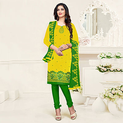 Glowing Yellow-Green Colored Embroidered Partywear Cotton Jacquard Suit