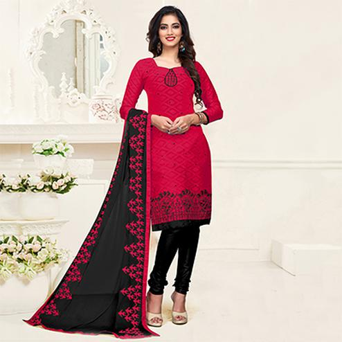 Mystic Pink-Black Colored Embroidered Partywear Cotton Jacquard Suit