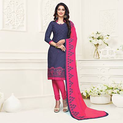 Beautiful Purple-Pink Colored Embroidered Partywear Cotton Jacquard Suit