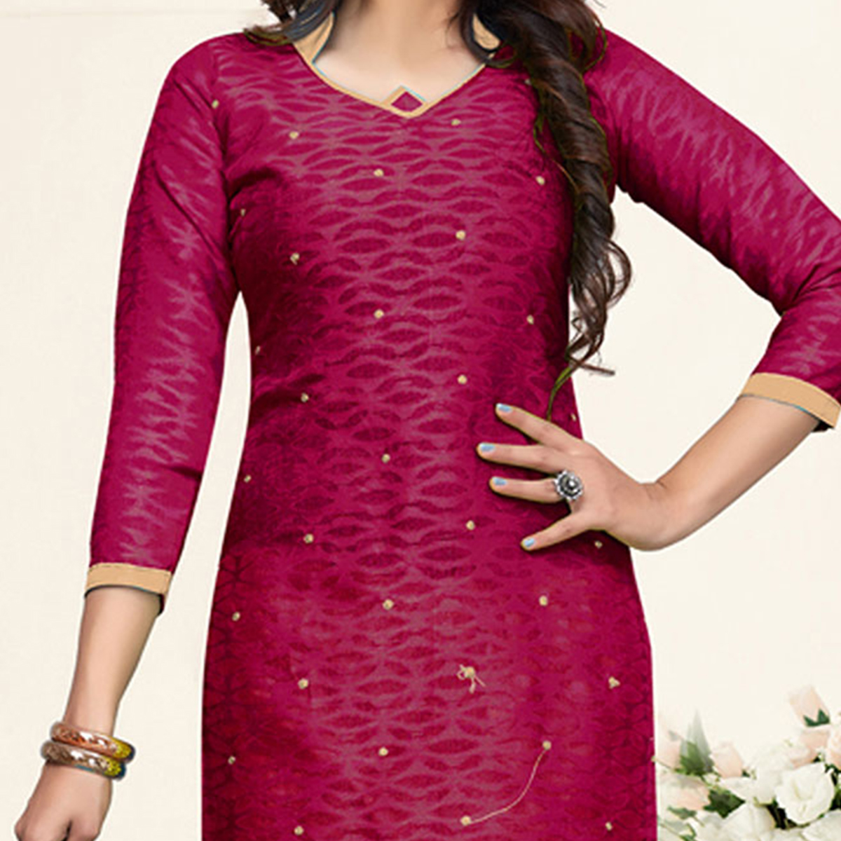 Elegant Magenta-Beige Colored Embroidered Partywear Cotton Jacquard Suit