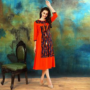 Stylish Orange Colored Casual Printed Rayon Cotton Kurti