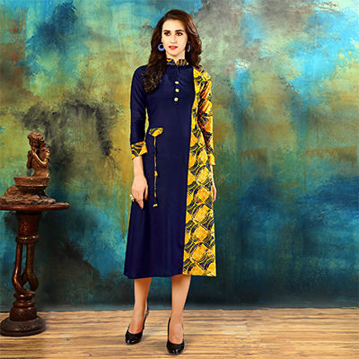 Gratifying Navy Blue-Yellow Colored Casual Printed Rayon Cotton Kurti