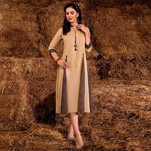 Elegant Beige Colored Casual Printed Rayon Cotton Kurti