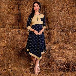 Stunning Navy Blue-Beige Colored Casual Printed Rayon Cotton Kurti
