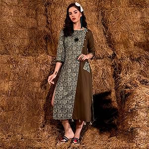 Dazzling Brown Colored Casual Printed Rayon Cotton Kurti