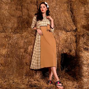 Simple Beige Colored Casual Printed Rayon Cotton Kurti