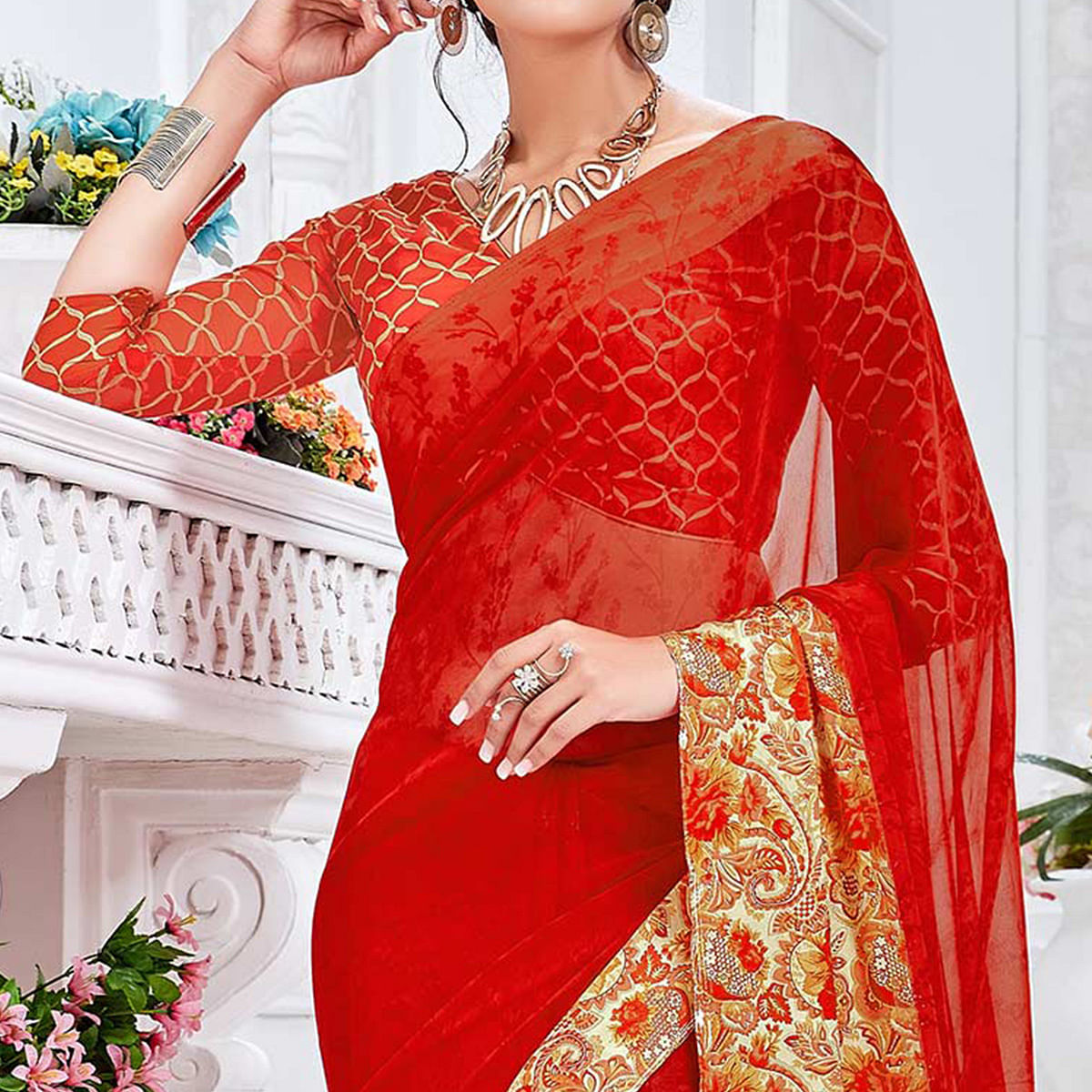 Red Brasso Fabric Casual Printed Saree
