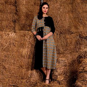Opulent Black-Beige Colored Casual Printed Rayon Cotton Kurti