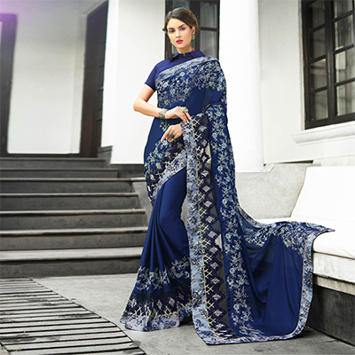 Attractive Navy Blue Colored Partywear Embroidered Georgette Saree