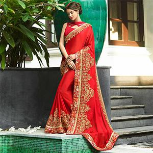 Eye-Catching Red Colored Partywear Embroidered Chiffon Saree