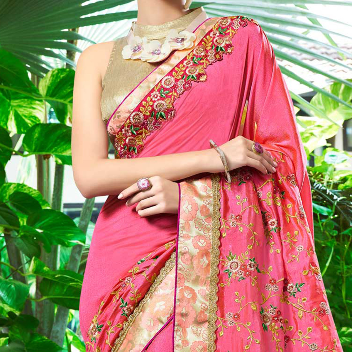 Elegant Pink Colored Partywear Embroidered Chiffon Saree