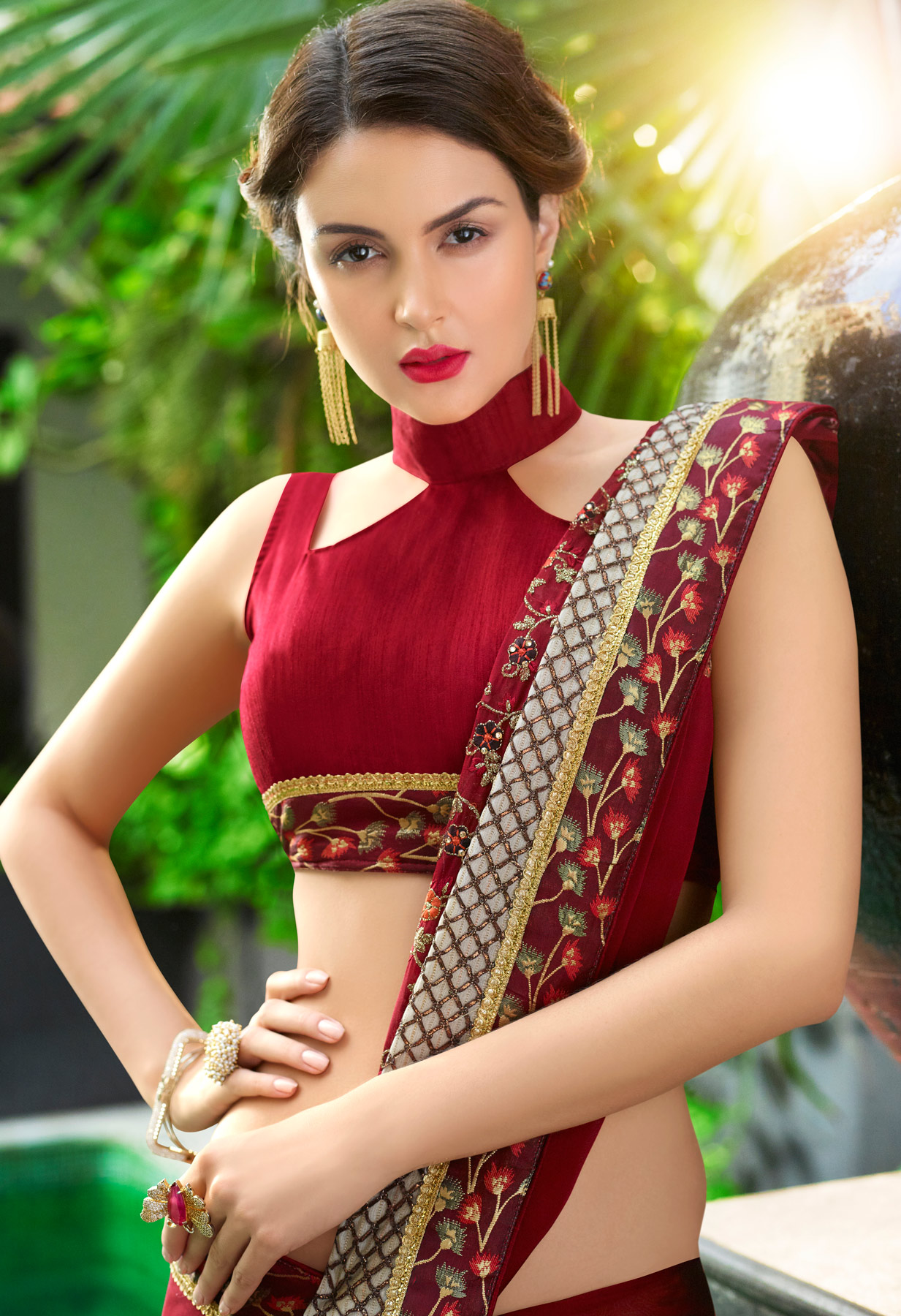 Mesmerising Maroon Colored Partywear Embroidered Georgette Saree