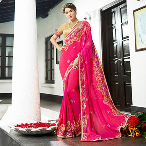 Pretty Pink Colored Partywear Embroidered Georgette Saree
