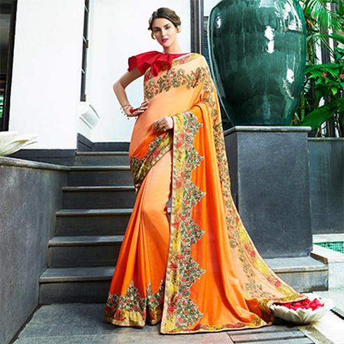 Trendy Orange Colored Partywear Embroidered Chiffon Saree