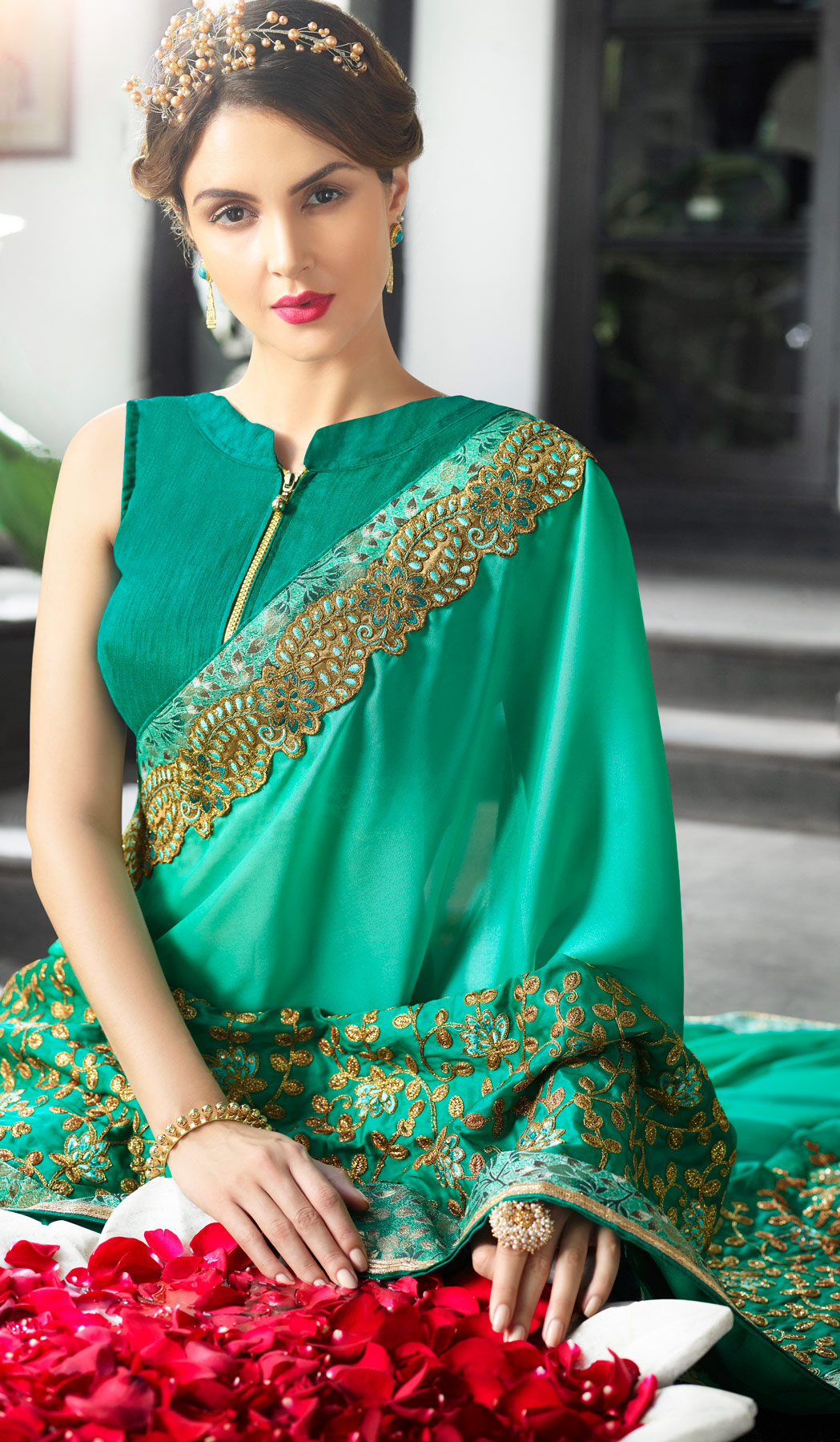 Dazzling Teal Green Colored Partywear Embroidered Silk Saree