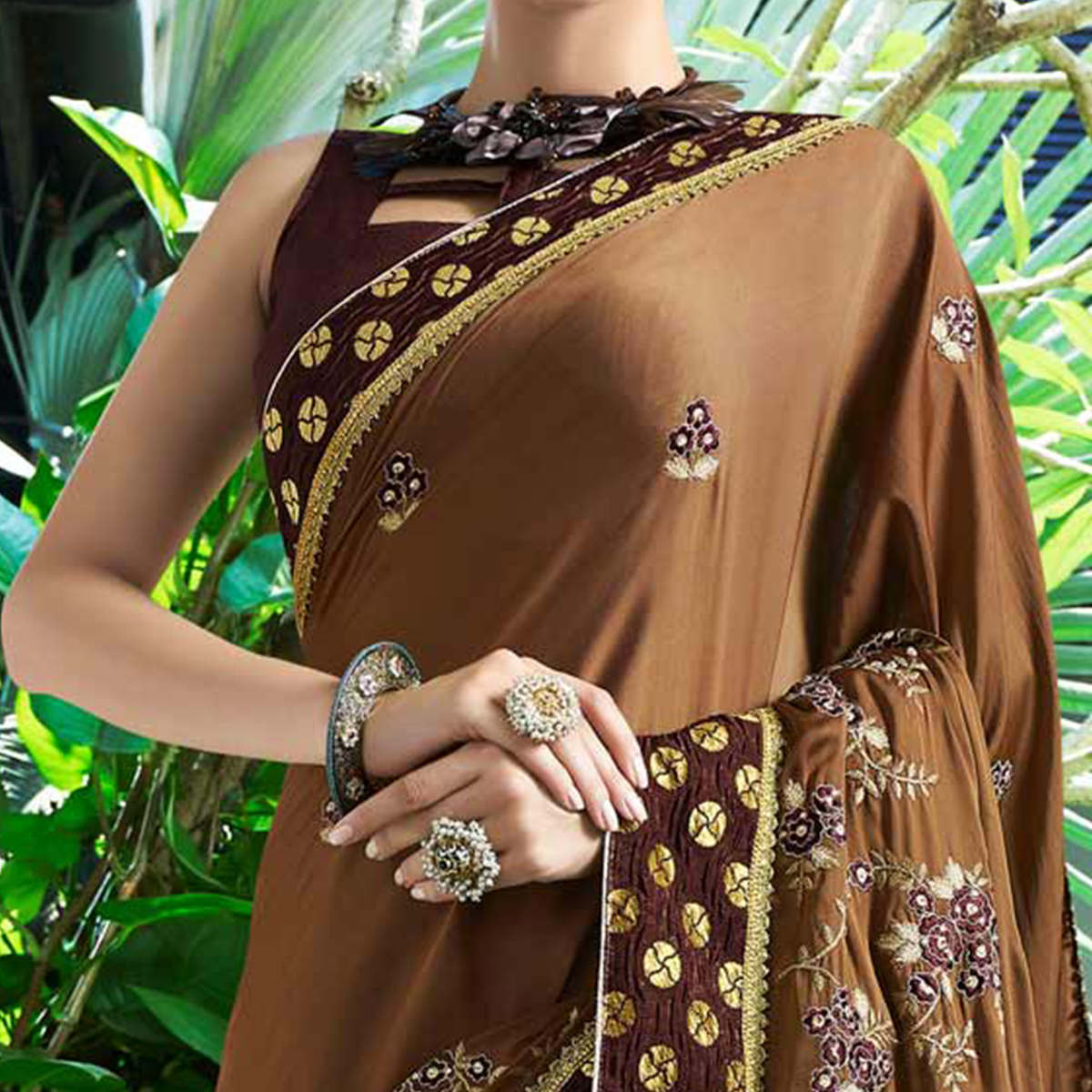 Majestic Brown Colored Partywear Embroidered Georgette Saree