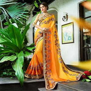 Glowing Yellow Colored Partywear Embroidered Georgette Saree