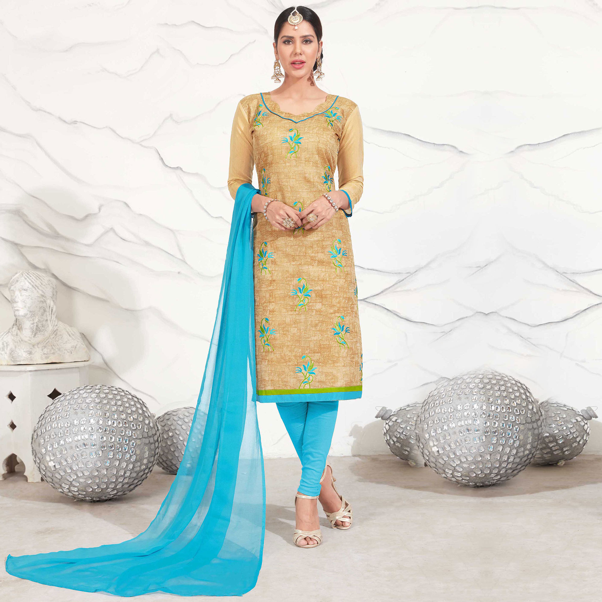 Beige - Sky Blue Embroidered Chanderi Dress Material