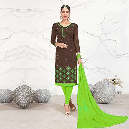 Brown - Light Green Embroidered Chanderi Dress Material