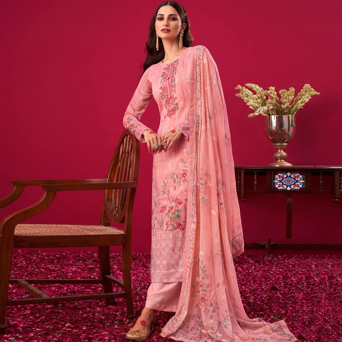 Stylee Lifestyle Pink Floral Digital Print With Embroidered Georgette Dress Material