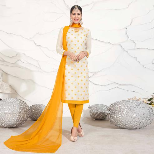 Offwhite - Yellow Embroidered Chanderi Dress Material