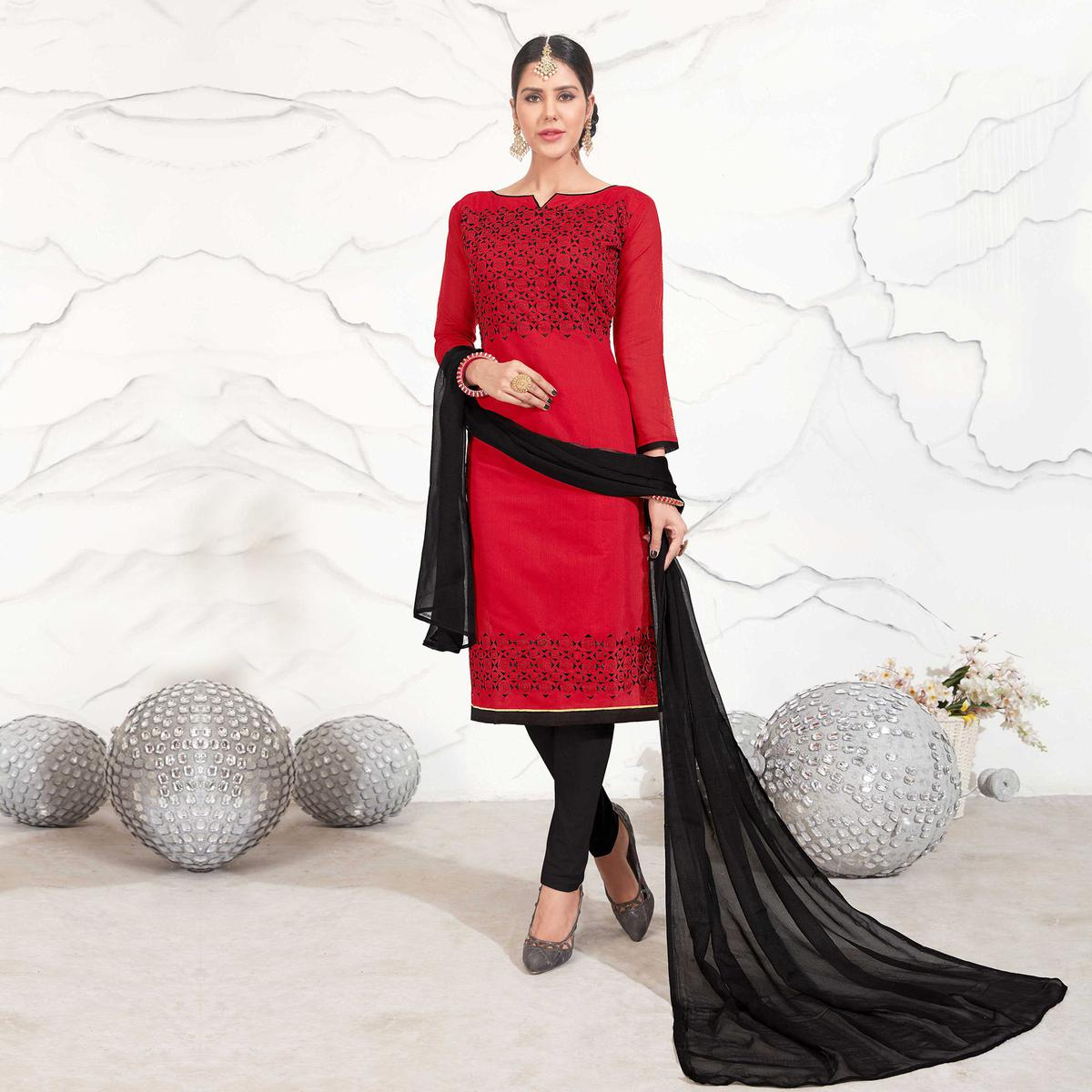 Red - Black Embroidered Chanderi Dress Material