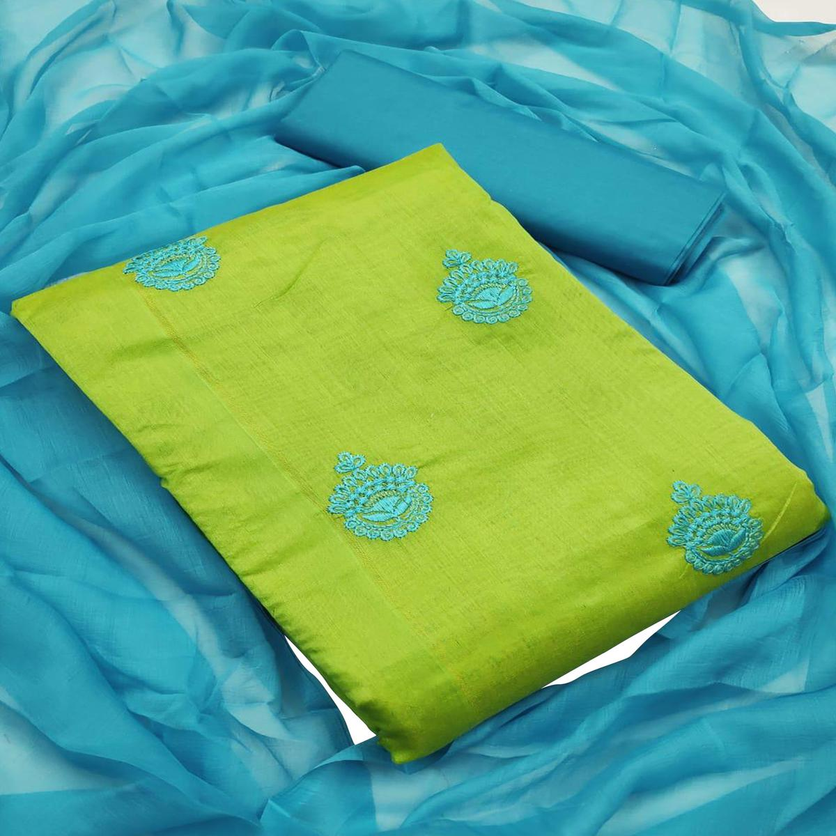 Light Green - Sky Blue Embroidered Chanderi Dress Material