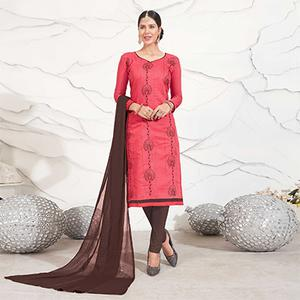 Crimson Red - Brown Embroidered Chanderi Dress Material