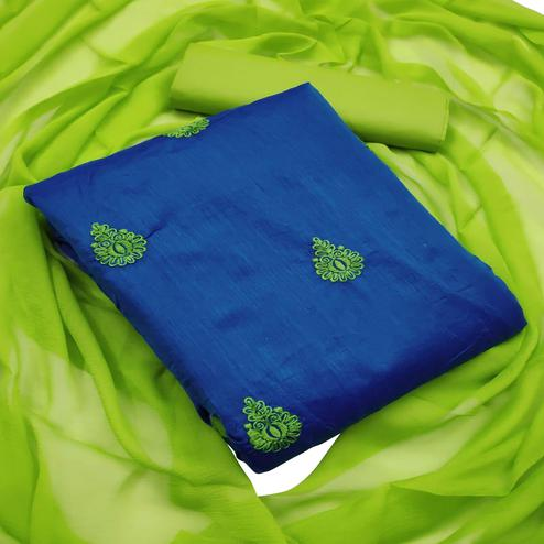Blue - Light Green Embroidered Chanderi Dress Material