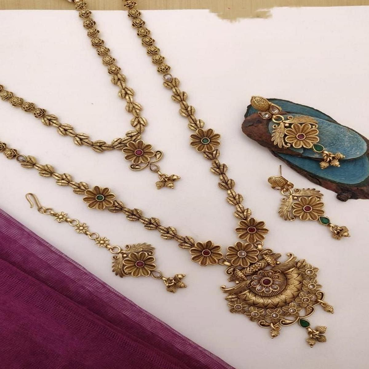 VIHA - Copper High Gold Plated Necklace Combo Set For Women And Girl