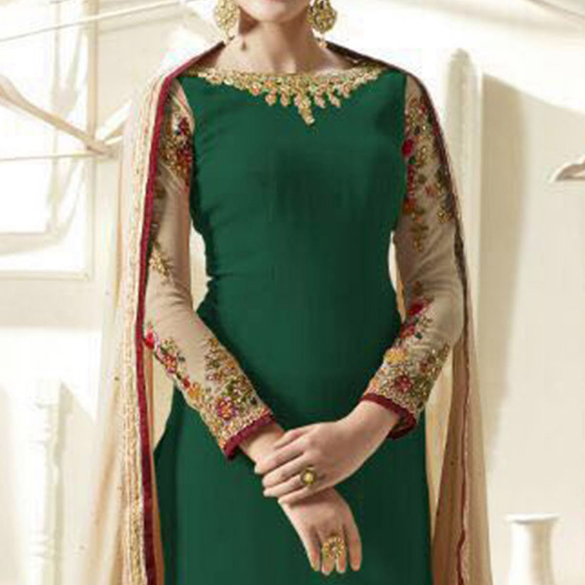 Green Designer Embroidered Suit