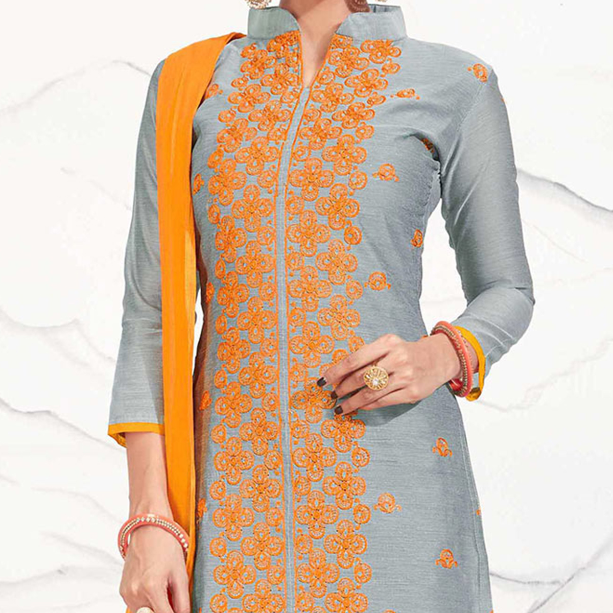 Grey - Orange Embroidered Chanderi Dress Material