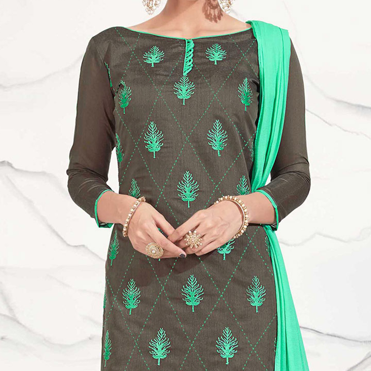 Black - Sea Green Embroidered Chanderi Dress Material