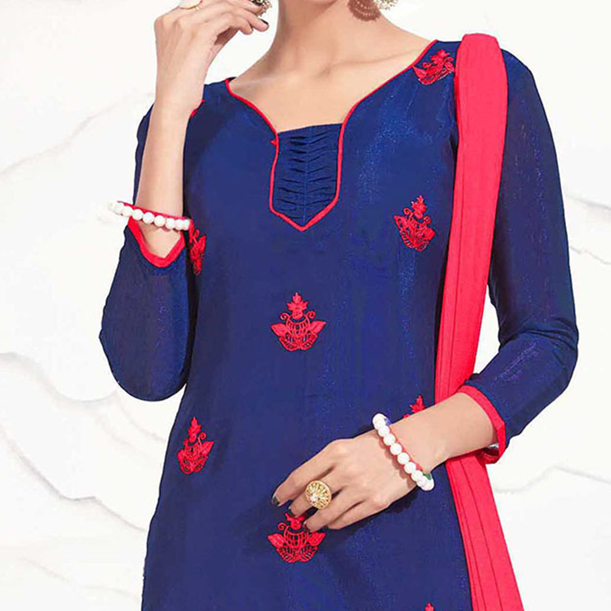 Blue - Red Embroidered Chanderi Dress Material