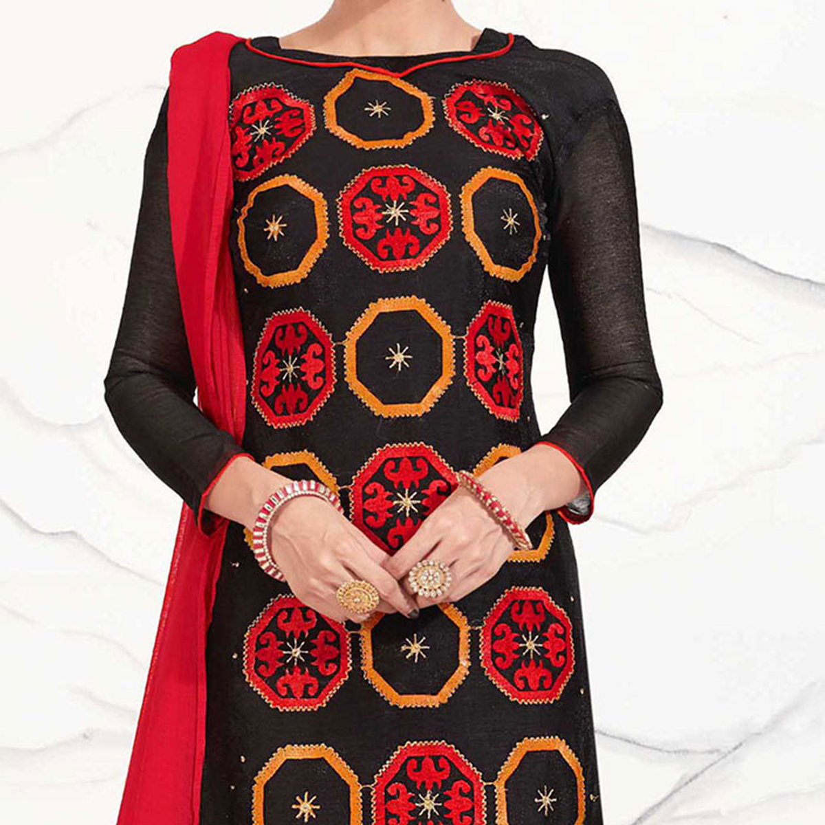 Black - Red Embroidered Chanderi Dress Material