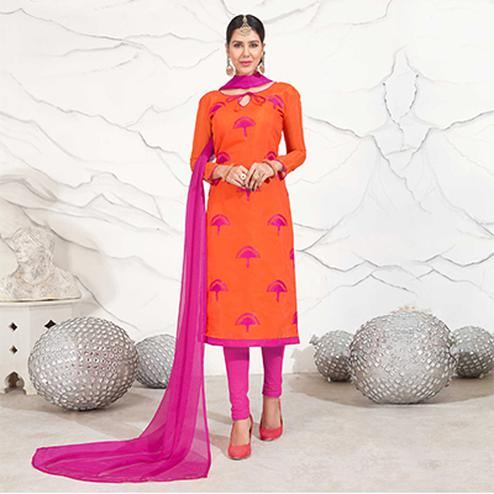 Orange - Hot Pink Embroidered Chanderi Dress Material