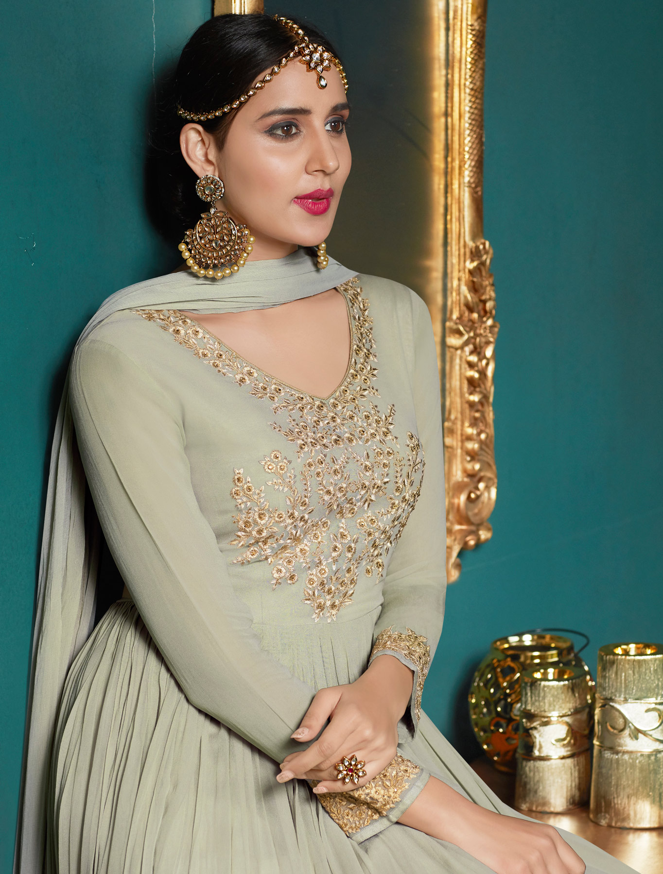 Unique Light Green Colored Partywear Embroidered Abaya Style Anarkali Suit