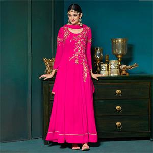 Mesmerising Pink Colored Partywear Embroidered Anarkali Suit