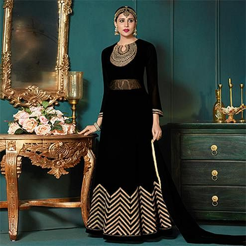 Deserving Black Colored Partywear Embroidered Abaya Style Anarkali Suit