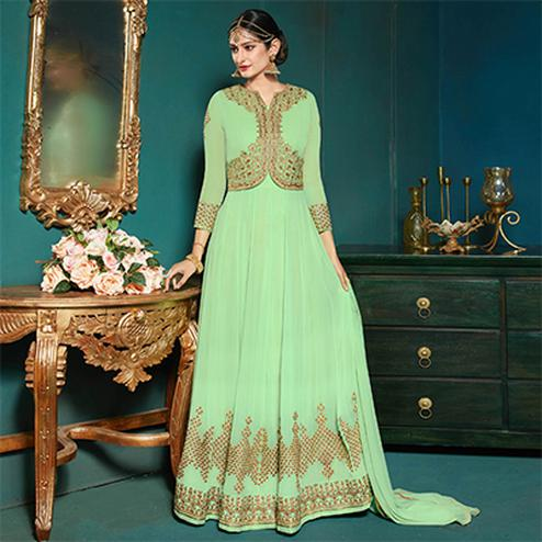 Trendy Pista Green Colored Partywear Embroidered Anarkali Suit