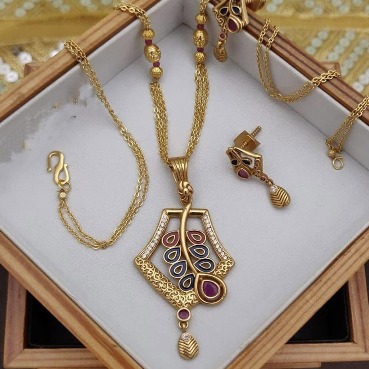 VIHA - Copper High Gold Plated Chain Pendant Set For Women And Girl